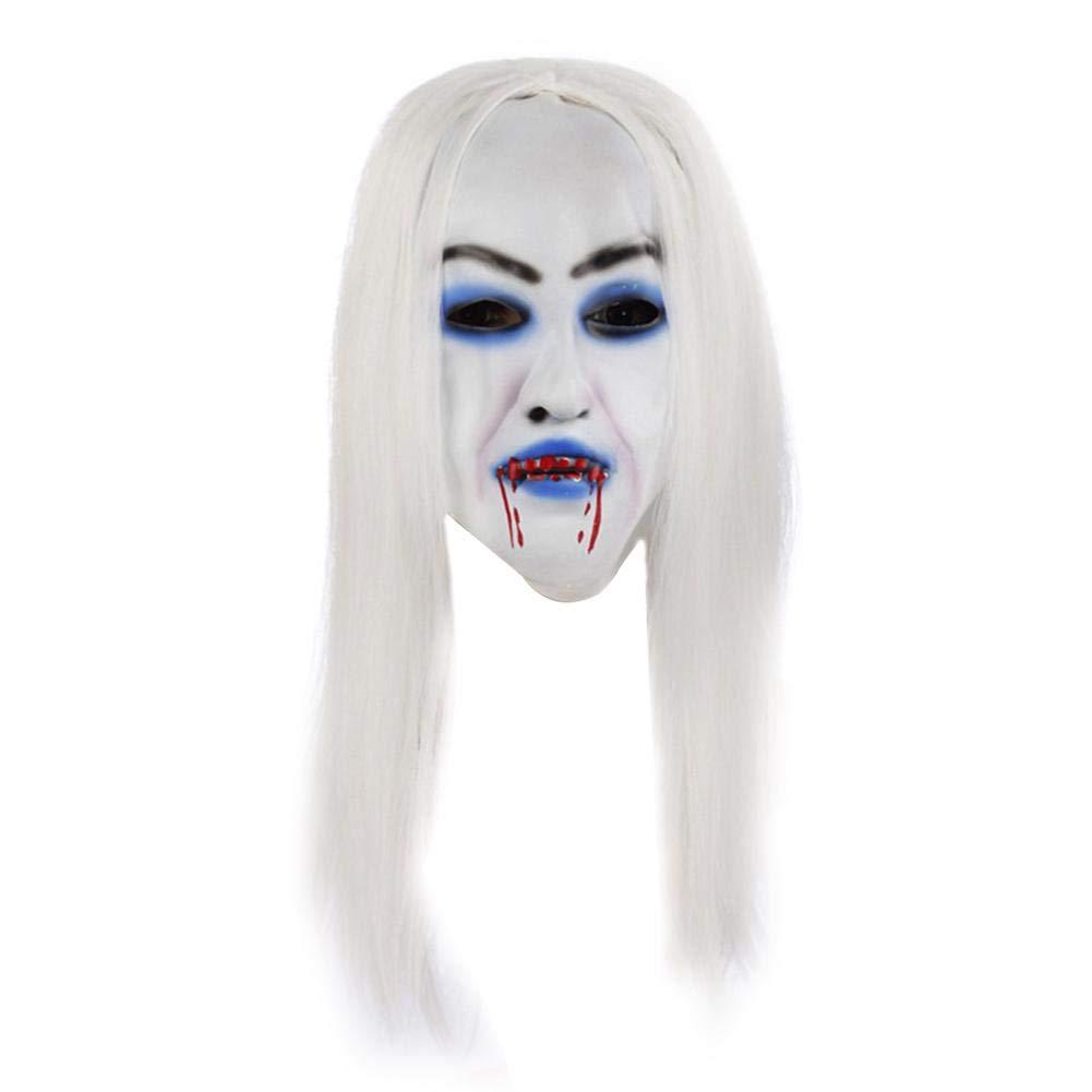 Squenve Halloween Ghost Festival Blanco Pelo Bruja Purga máscara ...