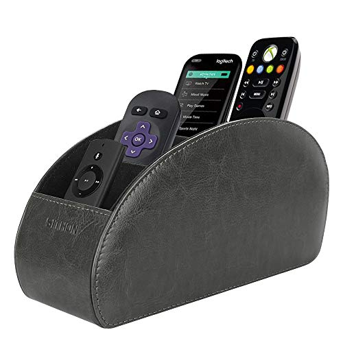 SITHON Remote Control Holder with 5 Compartments - PU Leather Remote Caddy Desktop Organizer Store TV, DVD, Blu-Ray, Media Player, Heater Controllers, Gray