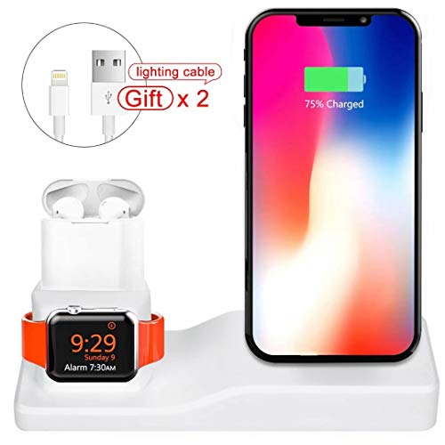 UHKZ Compatible Apple Watch Charging Stand Station,Silicone 3 in 1 Charging Docks Holder for iWatch Apple watch Series4/3/2/1/AirPods/iPhone/iPad(Include Two Iphone ipad charger lightning ()