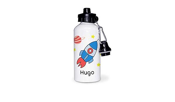 Kadoo Regalos Botella de Aluminio Personalizada Infantil Cohete con Nombre