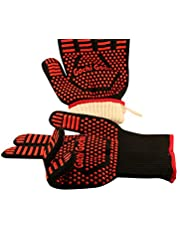 Gochi Gochi Barbecue Gloves Extreme Heat Resistant Cooking Oven BBQ Grilling Campfire Frying & Baking Premium Insulated & Silicone Lined Aramid Fiber Mitts for Forearm Protection