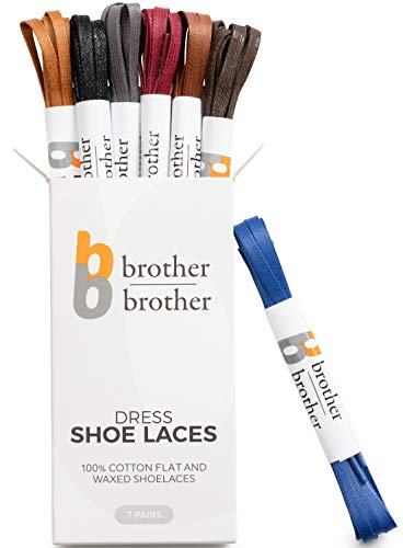 Brother Brother Colored Oxford Shoe Laces for Men (7 Pairs) Cotton Flat and Waxed Shoelaces for Dress Shoes | Gift Box with Royal Blue, Black, Dark Brown, Burgundy, Brown, Tan, -
