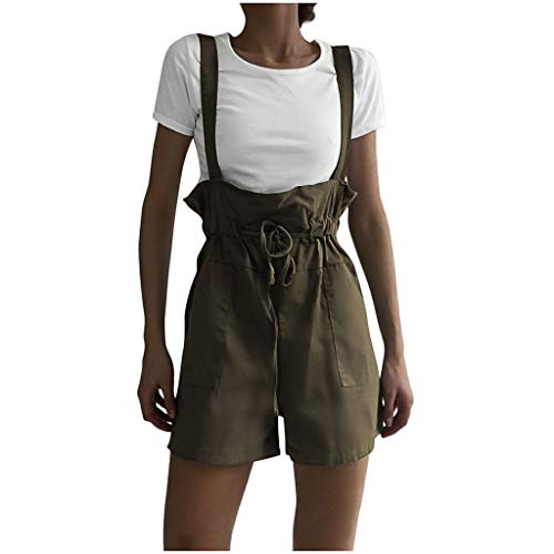 JustWin Solid Color Pocket Strap Jumpsuit Women Camisole Bnadage Waist Lace Up Pocket Jumpsuit Green