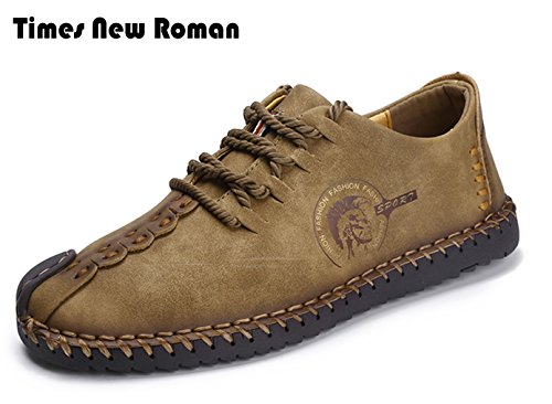 Times New Roman Casual Shoes,Men's British Style Handmade Classic Leather Oxford Flats Shoes, Casual Shoes, Lace-up Loafers, Flats Sneakers (10.0 US, A Coffee) - New Styles Shoes