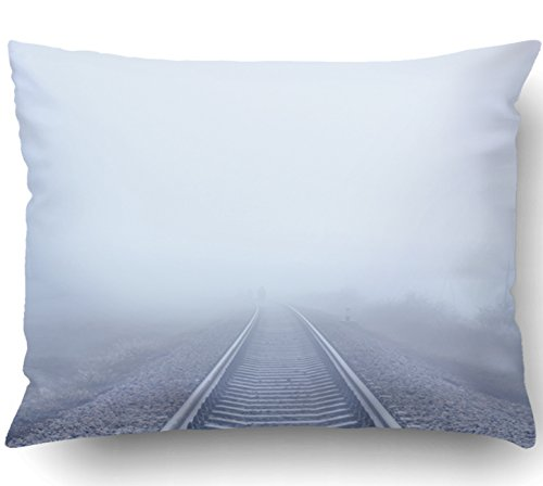 Emvency Pillow Covers Decorative Railway To Horizon In Fog Bulk With Zippered 20x26 Standard Pillow Case For Home Bed Couch Sofa Car One Sided