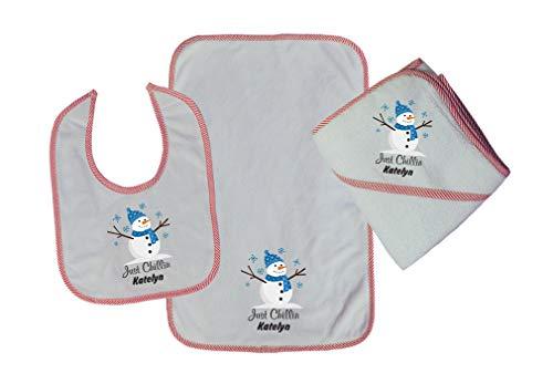 Personalized Custom Just Chillin Cotton Boys-Girls Baby Bib-Burb-Towel Set - Red, One Size ()