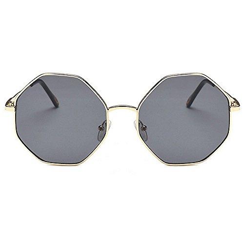 Plein Couleur Carré Soleil Fashion Lunettes en Silver Shades Yxsd Classique Gray Lunettes Femmes Hexagon De Hommes Air Métal SunglassesMAN 46Xqa8