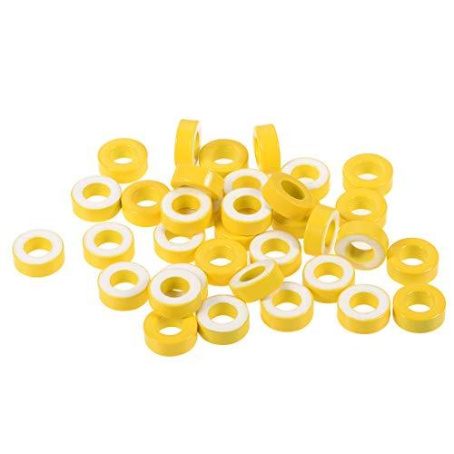 (uxcell Toroid Core, Ferrite Chokes Ring Iron Powder Inductor Ferrite Rings, Yellow White 35pcs, 8.2 x 15.5 x 6.2mm)