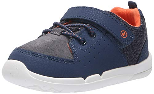 Stride Rite Boys' SRT Skye Sneaker, Navy/Orange, 9 W US Toddler (Stride Rite 9 W Boys)