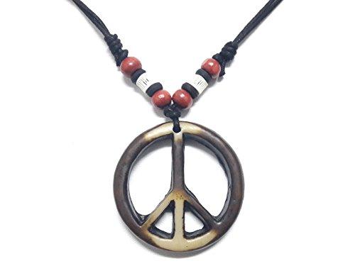 [Peace Sign Necklace - Peace Symbol Necklace - Resin Peace Sign Pendant - Adjustable Black Cord] (Phoenix Costume Diy)