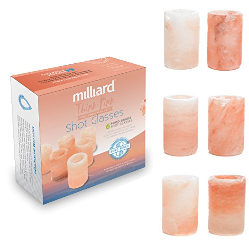 Milliard 6 Pack Premium Himalayan Salt Shot Glasses / Pink Tequila Shot Glasses, FDA Approved - Make Drinking Tequila Simple and Easy