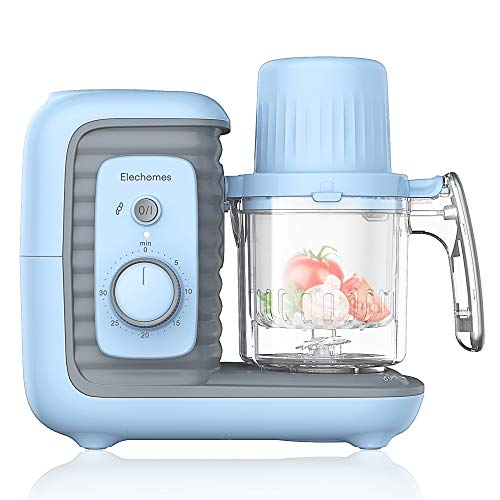 (Elechomes Baby Food Maker Processor, Double Steam Basket Cooker with Timer, Blender, Steamer for Baby Infants Toddlers)