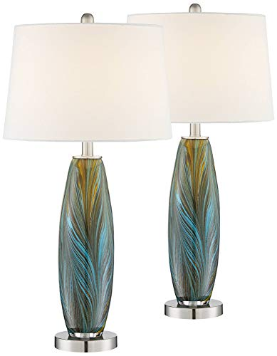 Azure Art Glass Table Lamps Set of 2-360 Lighting