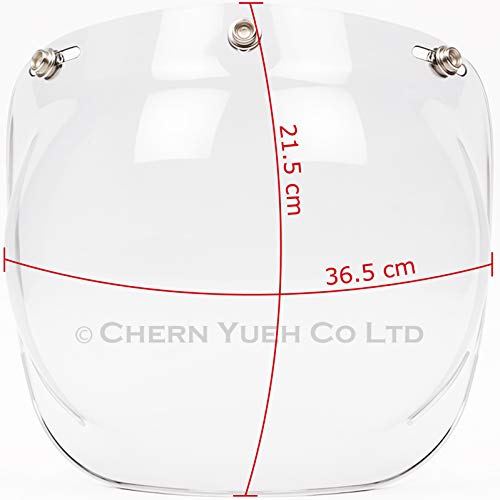 37832052 Solid Bubble Shield with Flip Adapter for 3-Snap Open Face Helmets (Clear)
