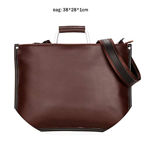Simple Design Genuine Leather Men Briefcase With Metal Handle Business Men Document Bag Classic Office Mens Bags Men Handbag,Bruin