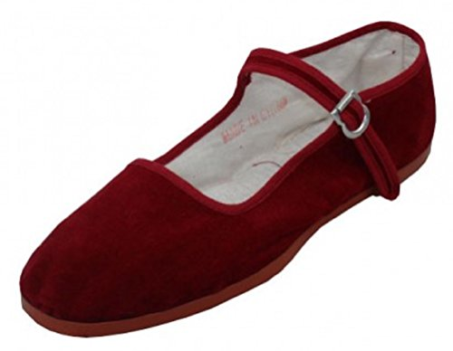 (Shoes 18 Womens Cotton China Doll Mary Jane Shoes Ballerina Ballet Flats Shoes (7, Burgundy 118 Velvet Upper))