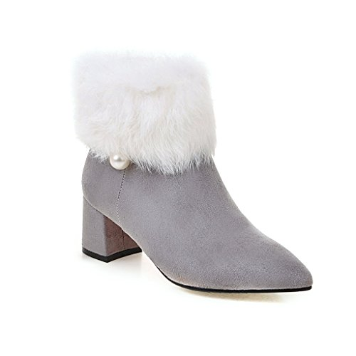 Kaloosh Women's Comfortable Suede Beading Pointed Toe Block Heel Ankle Boots Gray SJAT5a