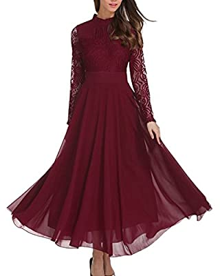 Roiii Women's Formal Floral Lace Chiffon Long Sleeve Evening Cocktail Party Maxi Dress
