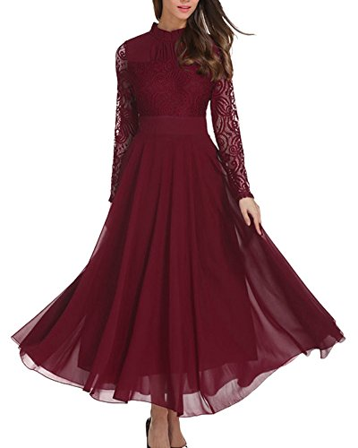 Roiii Women's Formal Floral Lace Chiffon Long Sleeve Evening Cocktail Party Maxi Dress (X-Large, Wine Red) (Long Lace Dress Evening Sleeve)