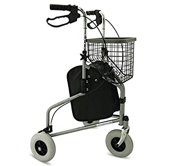 Folding Tri Walker with bag, basket and tray - mobility walking ...