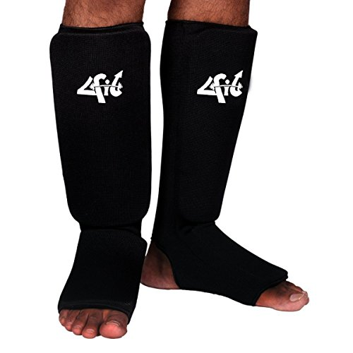 4Fit Shin Instep Protectors, Guards Pads Boxing, MMA, Muay Thai (black, small)