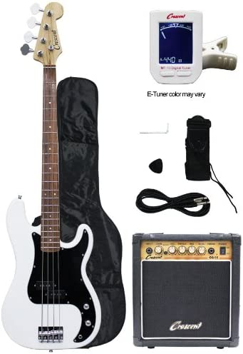 Crescent Electric Bass Guitar Starter Kit - White Color (Includes Amp & CrescentTM Digital E-Tuner)