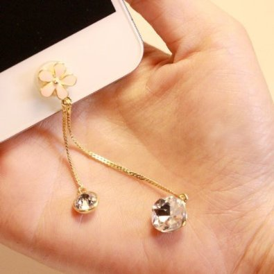 1 pcs Bling Flower with Rhinestone iPhone Home Button Sticker for iPhone 4,4s,4g, iPhone 5,5s,5c,6, iPad, Cell Phone Charm