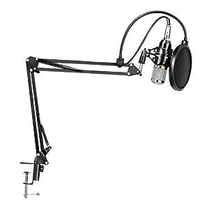 LYPULIGHT Micrófonos de Condensador Profesional Kit de Radio para Grabación de Estudio con Soporte de Micrófono de Grabación Ajustable Brazo con Soporte Antichoque y Kit de Abrazadera