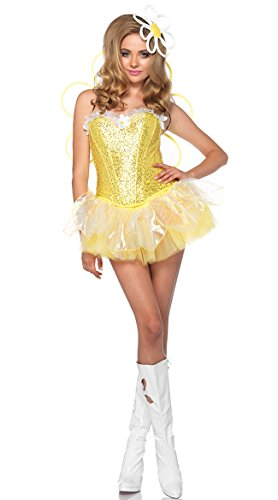[Leg Avenue Women's 4 Piece Daisy Doll Costume with LED light up Headpiece, Yellow, Small] (Daisy Flower Costumes For Halloween)