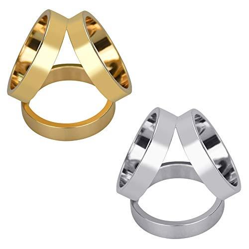 TANCUDER 2 Stück Schal Schnalle 3-Ringmuster Schal-Clip Dame Schal ring Tuchspange für kleine und mittlere Schals(Silber,Gold)