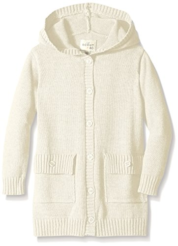 Scout + Ro Little Girls' Hooded Button-Front Cardigan Sweater, Frost Cream, 4 (Cardigan Girls Long)