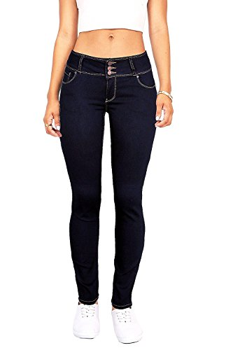Wax Women's Juniors Body Flattering Mid Rise Skinny Jeans Dark Denim 5