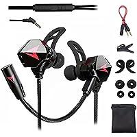Free Wolf Audífonos Gamer InEar, Auriculares Gaming con Cable, con micrófono Dual Desmontable, para Juegos móviles…