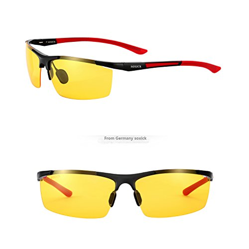 SOXICK Men's HD Polarized Night Driving Glasses Anti Glare Safety Glasses - To If Polarized Glasses How Are Tell