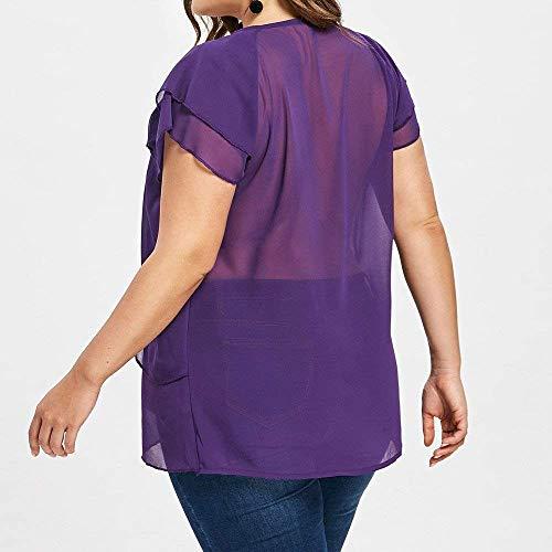 Tshirt Translucide Uni Rond Permable Et Casual Tee Dame Volants lgant L'Air Shirt Manches Battercake Top Mousseline Blau Manche Mode Shirt Col Courtes Femme WU6vqHwTg