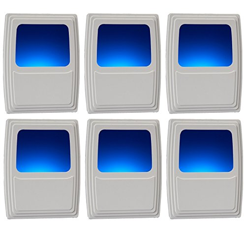 Energy Efficient Finish - Amertac Amerelle Plug-In Forever-Glo LED Night Light - 6 Pack - Always-On Cool Blue Glow, Energy Efficient - White Finish - Ideal for the Bedroom, Bathroom, Kitchen, Hallway, Stairs or any Dark Room