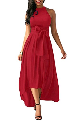 Salimdy Women Halter Sundress Sleeveless High Low Homecoming Belted Party Maxi Dress Red L ()