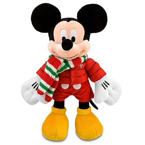 Retired 2010 Disney Mickey Mouse in Winter Holiday Scarf and Jacket - 14 Inch