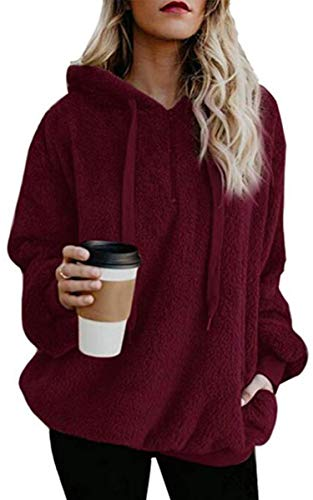 Angashion Womens Sweatshirt - Long Sleeve 1/4 Zip Up Faux Fl