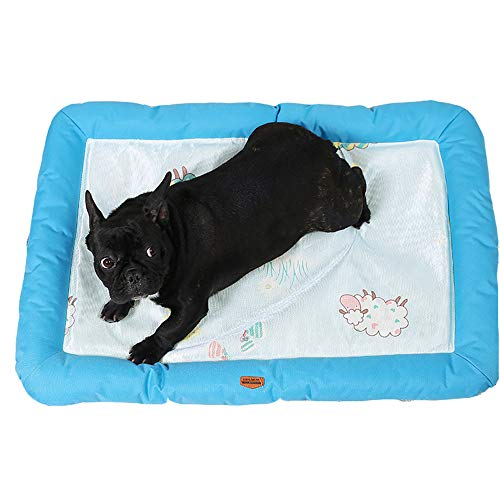NOMSOCR Breathable Materia Soft Cushion Bed for Dog and Cat, Pet Sofa Deluxe Basics Cotton Padded Bolster Kennel Mat (Blue, 15x21.6inch)