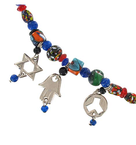 Mosaic David - Jewish Mosaic Glass Bead Star Of David Hamsa Hand Fringed Collar For Women