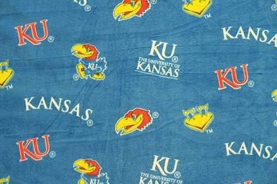 NCAA Kansas City Jayhawks Team Licensed All Over Fleece Fabric