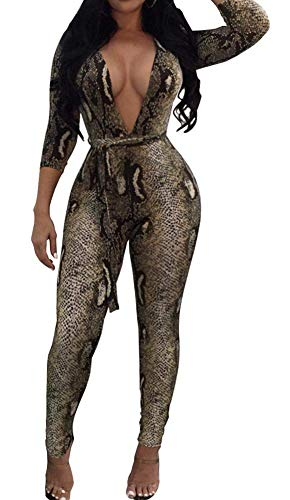 OopStyle Womens Sexy Deep V Neck Long Sleeve Bodycon Jumpsuit Playsuit Bodysuit Snakeskin Pattern ()