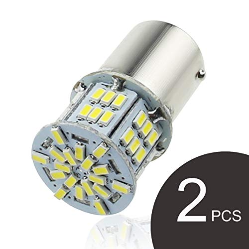 GOSMY 1157 LED Bulb BAY15D P21/5W lights Car Reverse Rear Turn Signal Parking Light 54 SMD 3014 6000K 12V-24V White Lamp (White 1157)