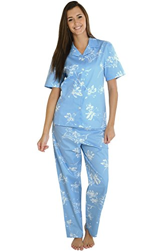 Alexander Del Rossa Woven Cotton Floral and Paisley Short Sleeved Pajama Set, 100% Cotton Pjs