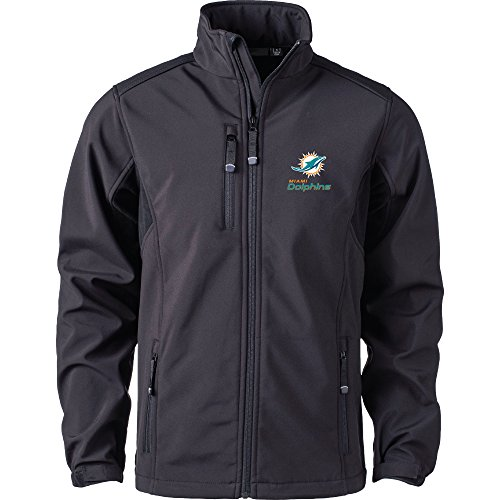 Miami Dolphins Mens Jackets (NFL Miami Dolphins Men's Softshell Jacket, 2X, Black)