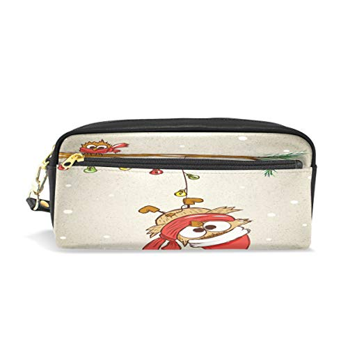 ALAZA Merry Christmas Cute Owls On Spruce Branch Pencil Case