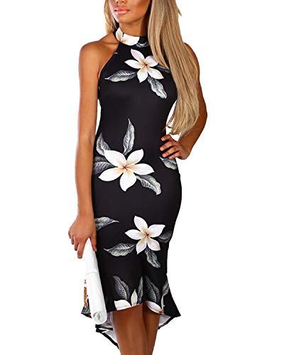 YOINS Women Sleeveless Halter Dress Floral Print Flounced Hem Sexy Bodycon Midi Dresses Party Cocktail Business