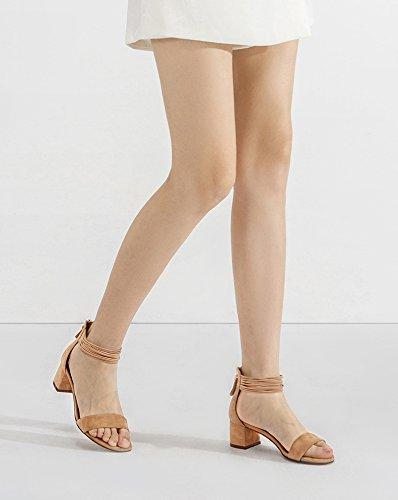 Pantofole alla donna Sandali tacco 38 casual moda con basso Sandali tacco Sandali basso a piatti estivi da alti DHG Albicocca Tacchi XIvxBqEw