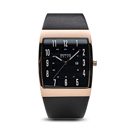 BERING Time 16433-462 Solar Collection Slim Watch with Calfskin Leather Strap and Scratch Resistant Sapphire Crystal. Designed in Denmark.